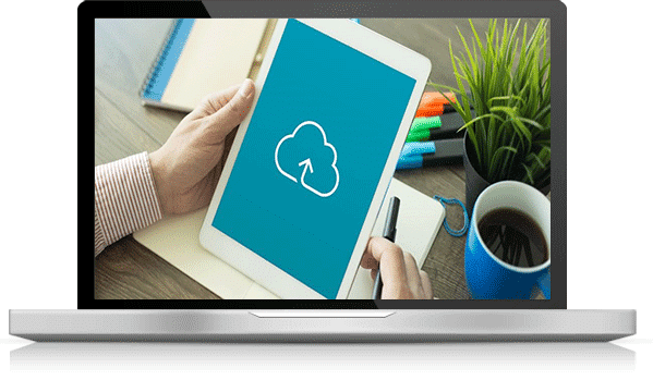 tablette avec logo cloud